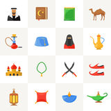 Arabic culture icons set. Arabic culture flat icons set with islamic symbols  vector illustration Royalty Free Stock Photos