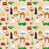 Arabic Culture Seamless. Pattern with camel tea pot mosque cartoon vector illustration Royalty Free Stock Image