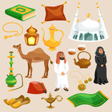 Arabic Culture Set. Arabic and eastern culture decorative cartoon icons set  vector illustration Stock Image