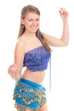 Arabic dance performed by a beautiful blonde. Studio photography Royalty Free Stock Images