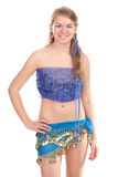 Arabic dance performed by a beautiful blonde. Studio photography Stock Photography