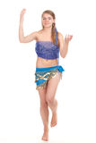 Arabic dance performed by a beautiful blonde. Studio photography Stock Photos
