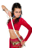 Arabic dancer with a sword Royalty Free Stock Photography