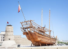 Arabic Dhow in Dubai historical museum. Stock Images
