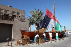 Arabic Dhow Monument in Dubai Stock Images