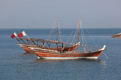 Arabic dhows in Doha. Traditional arabian dhows in Doha, Qatar Stock Images