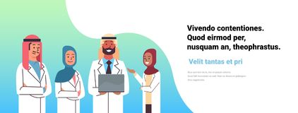 Arabic doctor hold laptop computer online consultation arab people pharmacists team medical clinics worker hospital flat. Horizontal copy space vector vector illustration