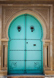 Arabic door. Blue wooden door in arabic style. Traditional arabic arhitecture Royalty Free Stock Photo