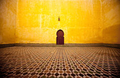 Arabic door. Arabic typical entry on a yellow wall Stock Image