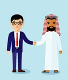 arabic and european business  people with handshake. Royalty Free Stock Photos