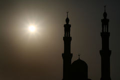 Arabic Evening. Mosque in the evening, Hurghada, Egypt, silhouette Stock Photos