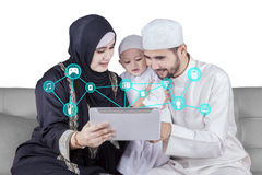 Arabic family using smart house application royalty free stock photography
