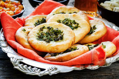Arabic flat bread with herbs Stock Image