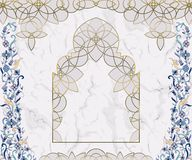 Arabic floral arch. Traditional islamic ornament on white marble background. Mosque decoration design element. Design template for greeting card, banner royalty free illustration