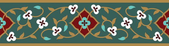 Arabic Floral Seamless Border. Traditional Islamic Design. Mosque decoration element Stock Image