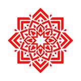 Arabic flower in red color. Vector mandala floral design. Abstract round symbol. Eastern decorative element. Modern idea for decor. Cosmetics emblem, beauty royalty free illustration