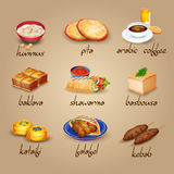 Arabic Food Icons Set. Arabic food cartoon icons set with shawarma baklava and coffee  vector illustration Stock Image