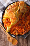Arabic Food Kabsa: chicken with rice and vegetables close-up. Ve. Arabic Food Kabsa: chicken with rice and vegetables close-up on a plate. Vertical view from Royalty Free Stock Photography