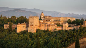 Arabic fortress of Alhambra at dusk, Spain. Stock Photo