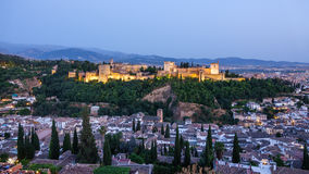 Arabic fortress of Alhambra at top of Granada, Spain. Royalty Free Stock Photography