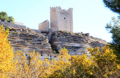 Arabic fortress at rocks, Alcala del Jucar, Spain Royalty Free Stock Images