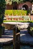 Arabic fountain in Alcazaba of Malaga. Stock Photo