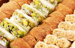 Arabic fresh sweets. Arabic sweets with nuts  , close up shot Stock Photos