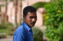 Arabic gardener. Portrait of an Arab gardener with blurred background Royalty Free Stock Photos