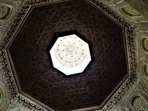 Arabic geometric art and architecture, design and altitude, elevation and light. Arabic geometric art and architecture in Granada city, Spain. Design and royalty free stock photo