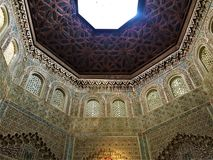 Arabic geometric art and architecture, design and altitude, elevation and light. Arabic geometric art and architecture in Granada city, Spain. Design and stock photos