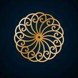 Arabic geometric, floral round ornament, pattern of gold lines. Mandala. Decorative gold pattern, oriental motif. Design element vector illustration