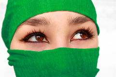 Arabic girl. In green shawl on white background Royalty Free Stock Images