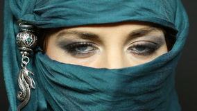 Arabic girl glance stock video