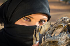 Arabic Girls Eyes, wearing a Hijab. Royalty Free Stock Photo