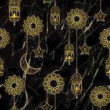Arabic golden lantern seamless pattern. Arabic golden lantern and gold half moon, stars seamless pattern on black marble background. Vector luxury repeat royalty free illustration