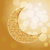 Arabic golden moon. Bokeh lights. Card, invitation for muslim month Ramadan Kareem. Eid ul adha. Festive vector illustration, background Royalty Free Stock Image