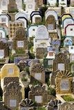Arabic graveyard. Colourful gravestones in an arabic graveyard, Rabat, Morocco Royalty Free Stock Photo