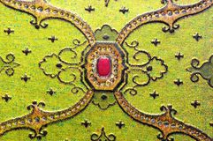 Arabic green ornament. With red jewel Stock Image