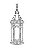 Arabic hanging lamp with chain. For poster Ramadan kareem. Arabic hanging lamp with chain. For poster or banner Ramadan kareem. Vector black vintage engraving