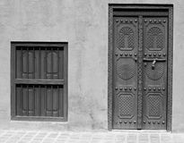 Arabic Heritage Door and Window. Arab traditional door and a window in black and white Stock Images