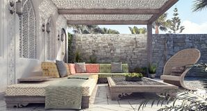 Arabic Home garden exterior and patio. 3D Rendering stock photos