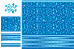Arabic idea five star blue seamless pattern Stock Image
