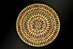Arabic and Indian round Gold Hand Beaded and Handmade Placemats royalty free stock photography