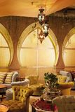 Arabic interior. Arabic coffee shop with luxury interior Royalty Free Stock Image