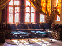 Arabic interior - hotel lobby with coffee tables. Traditional Arabic lobby interior photo Royalty Free Stock Image
