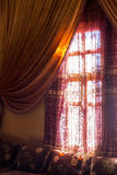 Arabic interior - window and curtains. Traditional Arabic lobby interior photo Stock Images