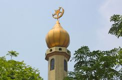 Arabic Islam Mosque Tower with Crescent and Star Stock Photography