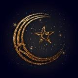 Arabic Islamic Calligraphy for Eid Mubarak. Golden Glittering Arabic Islamic Calligraphy of text Eid Mubarak in Crescent Moon and Star shape on shiny background Stock Photography
