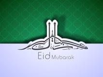 Arabic Islamic calligraphy of text Eid Mubarak. On green abstract background Stock Photos