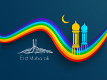Arabic Islamic calligraphy of text Eid Mubarak. With Mosque and Masjid image in golden moon night on colorful waves background Royalty Free Stock Photo